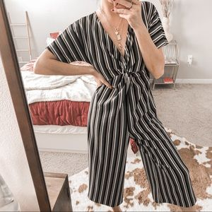 GREEN STRIPED FRONT KNOTTED JUMPSUIT